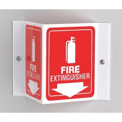 Accuform Signs - PSP618 - Fire Extinguisher Sign, 6 x 8-1/2In, WHT/R