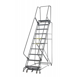 Ballymore / Garlin - WA093214G - Garlin Rolling Ladder 9 Step Knock Down 14 In Deep Top Step Grip Strut Steel Gray, Ea