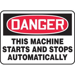 Accuform Signs - MEQM150VS - Accuform Signs 7' X 10' Black, Red And White 4 mils Adhesive Vinyl Equipment Machinery And Operations Safety Sign 'DANGER THIS MACHINE STARTS AND STOPS AUTOMATICALLY', ( Each )