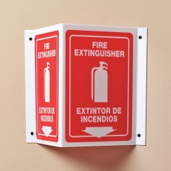 Accuform Signs - SBPSP391 - Fire Extinguisher Sign, 12 x 9In, WHT/R