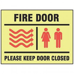 Accuform Signs - MLEX527GF - Fire Door Sign, 7 x 10In, R and BK/YEL, ENG