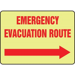 Accuform Signs - MLFE508GP - Evacuation Route Sign, 10 x 14In, R/YEL