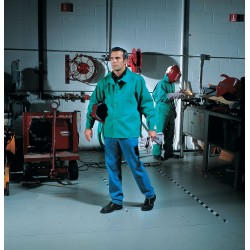 Steiner Industries - 1038-L - Green 100% 12 oz. Flame-Resistant Cotton Welding Jacket, Size: L, 30 Length