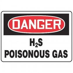 Accuform Signs - MCHL177VP - Danger Sign Hydrogen Sulfide Poisonous Gas 7x10 Plastic Accuform Mfg Inc, Ea