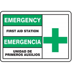 Accuform Signs - SBMFSD926VS - Info Sign First Aid Station Bilingual 7x10 Self Adhesive 29 Cfr 1910.145 Accuform Mfg Inc, Ea