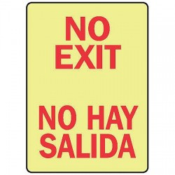 Accuform Signs - SBMEXT502GP - No Exit Sign, 14 x 10In, R/YEL, PLSTC, Text