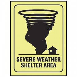 "Accuform Signs - MLFE544GF - Accuform Signs 14"" X 10"" Black And Green Glow 10 mils Lumi-Glow Flex Evacuation And Shelter Sign ""SEVERE WEATHER SHELTER AREA (With Graphic) (GLOW)"""
