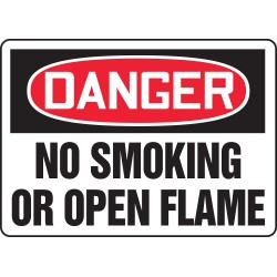 "Accuform Signs - MSMK050VA - Safety Sign, Danger - No Smoking Or Open Flame, 10"" X 14"", Aluminum"