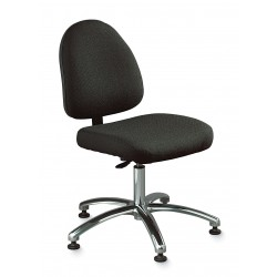 Bevco Precision - 6551 GRAY FABRIC - Ergonomic Stool Deluxe Gray Olefin 24-34 In Plastic Bevco Ansi/bifma, Ea