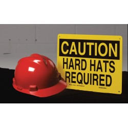 Accuform Signs - MPPE795VS - Caution Sign Eye Protection Pictorial 7x10 Self Adhesive Accuform Mfg Inc, Ea