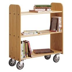 Diversified Woodcrafts - BT111 - Wood Book Truck with 3 Flat Oak Shelves, Northwoods Oak