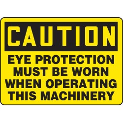 Accuform Signs - MPPA609VA - Accuform Signs 7' X 10' Black And Yellow 0.040' Aluminum PPE Sign 'CAUTION EYE PROTECTION MUST BE WORN WHEN OPERATING THIS MACHINERY' With Round Corner, ( Each )