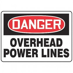 Accuform Signs - MELC146VP - Accuform Signs 7' X 10' Black, Red And White 0.055' Plastic Electrical Sign 'DANGER OVERHEAD POWER LINES' With 3/16' Mounting Hole And Round Corner, ( Each )
