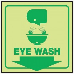 Accuform Signs - PSP863 - Eye Wash Sign, 6 x 8-1/2In, GRN/YEL, ENG