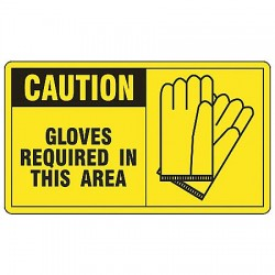 Accuform Signs - MPPE784VP - Accuform Signs 7' X 10' Black And Yellow 0.055' Plastic PPE Sign 'CAUTION GLOVES REQUIRED IN THIS AREA (With Graphic)' With 3/16' Mounting Hole And Round Corner, ( Each )