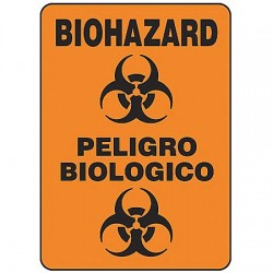 "Accuform Signs - SBMBHZ530VP - Biohazard/Peligro Biologico Spanish-Bilingual Biohazard Sign, Plastic, 14"" Height, 10"" Width"