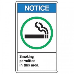 Accuform Signs - MRMK802VA - Accuform Signs 14' X 10' Black, Green And White 0.040' Aluminum Smoking Control Sign 'NOTICE SMOKING PERMITTED IN THIS AREA (With Graphic)' With Round Corner, ( Each )