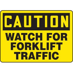 Accuform Signs - MVHR633VS - Accuform Signs 10' X 14' Black And Yellow 4 mils Adhesive Vinyl Industrial Traffic Sign 'CAUTION WATCH FOR FORKLIFT TRAFFIC', ( Each )
