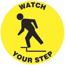 "Accuform Signs - MFS615 - Accident Prevention, No Header, Vinyl, 3"" x 3"", Adhesive Floor, Not Retroreflective"