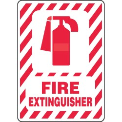 Accuform Signs - MFXG419VA - Accuform Signs 10' X 7' Red And White 0.040' Aluminum Fire Safety Sign 'FIRE EXTINGUISHER (With Graphic)' With Round Corner, ( Each )