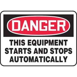 "Accuform Signs - MEQM087VS - Accuform Signs 7"" X 10"" Black, Red And White 4 mils Adhesive Vinyl Equipment Sign ""DANGER THIS EQUIPMENT STARTS AND STOPS AUTOMATICALLY"""