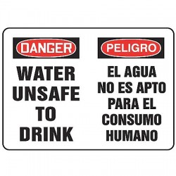 Accuform Signs - MCHL203VS - Potable Water, Danger/Peligro, Vinyl, 10 x 14, Adhesive Surface, Not Retroreflective