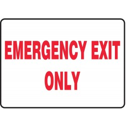 "Accuform Signs - MEXT584VS - Accuform Signs 7"" X 10"" Red And White 4 mils Adhesive Vinyl Admittance And Exit Sign ""EMERGENCY EXIT ONLY"""
