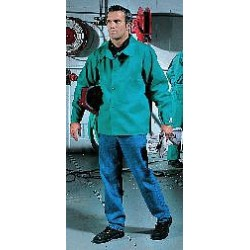 Steiner Industries - 1038-M - Green 100% 12 oz. Flame-Resistant Cotton Welding Jacket, Size: M, 30 Length