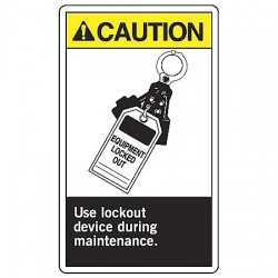 "Accuform Signs - LLKT606VSP - Accuform Signs 5"" X 3 1/2"" Yellow, Black And White 4 mil Adhesive Vinyl Lockout/Tagout Safety Label ""CAUTION USE LOCKOUT DEVICE DURING MAINTENANCE (With Graphic)"" (5 Per Pack)"