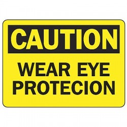 Accuform Signs - MPPE406VS - Caution Sign Wear Eye Protection 7x10 Self Adhesive Ansi Z535.2 - 1998 Accuform Mfg Inc, Ea