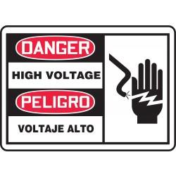 Accuform Signs - SBMELC079VP - Danger Sign High Voltage Bilingual 7x10 Plastic 29 Cfr 1910.145 Accuform Mfg Inc, Ea