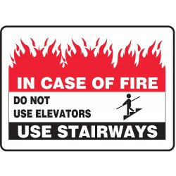 Accuform Signs - MEXT589VS - Fire Stairways Sign, 10 x 14In, ENG, SURF