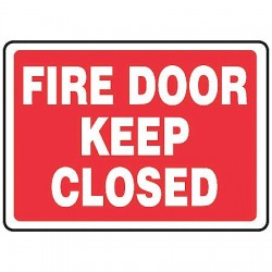 Accuform Signs - MEXT510VP - Fire Door Sign, 10 x 14In, WHT/R, PLSTC, ENG