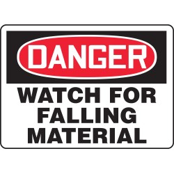 Accuform Signs - MEQM098VP - Accuform Signs 10' X 14' Black, Red And White 0.055' Plastic Equipment Sign 'DANGER WATCH FOR FALLING MATERIAL' With 3/16' Mounting Hole And Round Corner, ( Each )