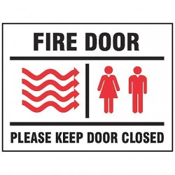 Accuform Signs - MEXT447VP - Fire Door Sign, 10 x 14In, R and BK/WHT
