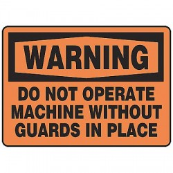 Accuform Signs - MEQM332VS - Warning Sign, 10 x 14In, BK/ORN, ENG, Text