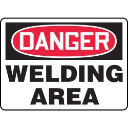 Accuform Signs - MWLD009VP - Accuform Signs 7' X 10' Black, Red And White 0.055' Plastic Chemicals And Hazardous Materials Sign 'DANGER WELDING AREA' With 3/16' Mounting Hole And Round Corner, ( Each )