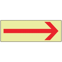 Accuform Signs - MLAD500GP - Directional Sign, 3-1/2 x 10In, R/Glow