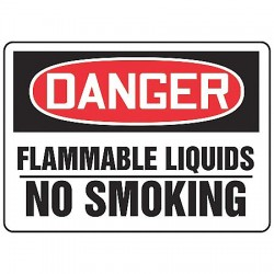 Accuform Signs - MCHL078VS - No Smoking, Danger, Vinyl, 10 x 14, Adhesive Surface, Not Retroreflective