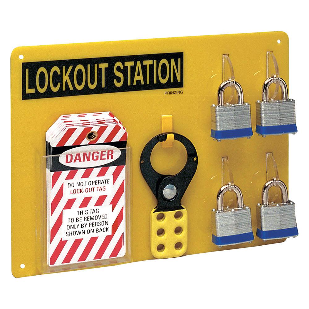 Brady - LC203G - Lockout Station, Filled, 4 Locks, Blk/Ylw