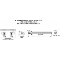 "Circle Machine Company - 42007 - F"""" Style Carbide Shank Indexable Boring Bars"