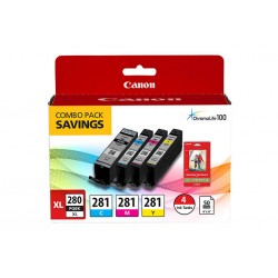 Canon - 2021C006 - Canon Ink Cartridge/Paper Kit Combo Pack - Black, Cyan, Magenta, Yellow - Inkjet