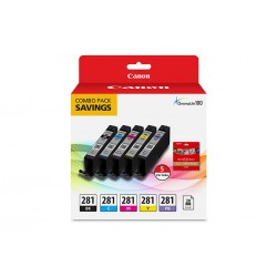 Canon - 2091C006 - Canon CLI-281 Ink Cartridge/Paper Kit Combo Pack - Black, Cyan, Magenta, Yellow - Inkjet