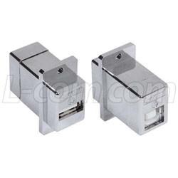 L-Com Global Connectivity - ECF504-UABS - USB Adaptor, USB Type A Receptacle, USB Type B Receptacle, USB 2.0, Brass