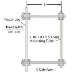 Rohn Products - Sa310a - Rohn Sa310a Mount, Side Arm Assy, 3', Straight Or Tapered 10.75' Legs, With 2.375' Pipe