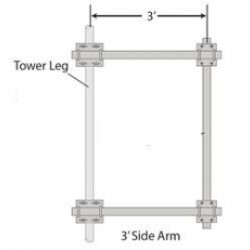 Rohn Products - Sa36pl - Rohn Sa36pl Mount, Side Arm Assy, 3', Straight Or Tapered 6.63' Legs, With 2.375' Pipe