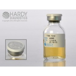 Hardy Diagnostics - U382 - Tryptic Soy Broth (TSB), USP, 15ml fill, 20ml vial with needle-port septum, order by the package of 10