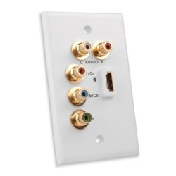 Vanco - 120920 - Wall Plate Compon Vid + Audio + Hdmi White