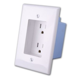Vanco - 168924 - Single Gang Dual Outlet White