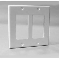 Calrad - 28115P - White Plastic Dual Gang Decora Frame